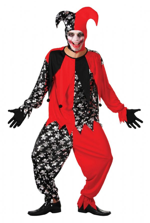 Adults Evil Jester Costume Nasty Wicked Villian Fancy Dress Outfit